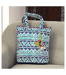 batik cotton tote, 'mystical morning' (india)