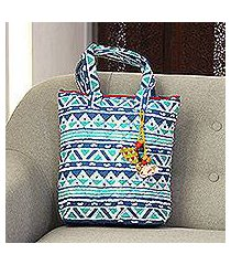 batik cotton tote, 'mystical morning' (india)