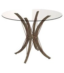 mesa de jantar redonda com tampo de vidro boston incolor e freijó 100 cm