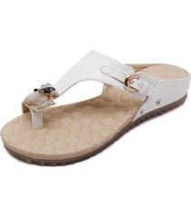 chanclas de gran tamaño para mujer sandalias pu flip flops de cuero-blanco