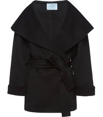 prada belted cashmere jacket - black