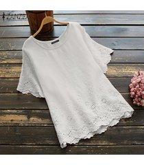 zanzea las mujeres de manga corta con cuello redondo de verano tops casual de las señoras blusa de la camisa del tamaño extra grande -blanco