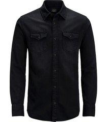 jack & jones plus size casual overhemd zwart denim