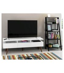 rack para tv até 65 polegadas madesa londres e estante escada branco/preto