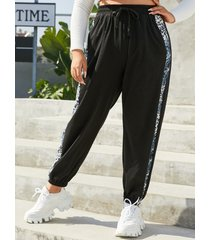 yoins tallas grandes leopard patchwork bolsillos laterales con cordón pantalones con diseño de amarre