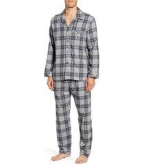 men's majestic international warm up plaid cotton flannel pajamas, size large - grey