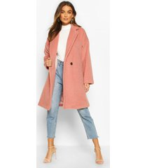 luxe brushed wool look button through coat, dusky pink