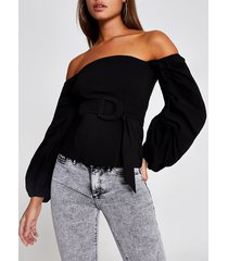 river island womens black belted long puff sleeve bardot top