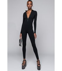 akira back to basics long sleeve front zip long sleeve jumpsuit