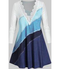 plus size denim print frayed guipure lace tunic tee