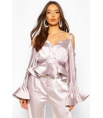 stetch satin cold shoulder peplum top, mauve