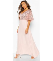 petite occasion sequin angel sleeve maxi dress, blush