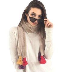 bufanda beige con borlas de colores