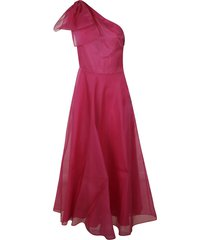 msgm bow detail one-sleeve dress