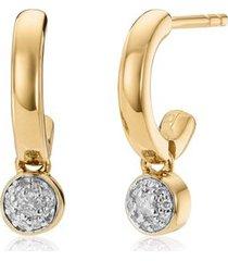 gold fiji tiny button diamond huggie earrings diamond
