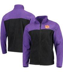 columbia clemson tigers men's flanker jacket iii fleece full zip jacket