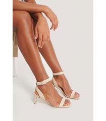 na-kd shoes basic squared heel sandals - beige