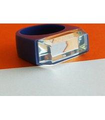 fioletowy pierścionek z żywicy z lustrem
