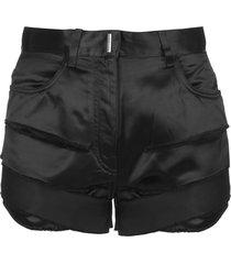 destroyed effect black satin shorts