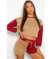 cropped loungesweater met colourblock, mokka