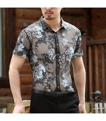 incerun manga corta con bordado floral calado sexy para hombre camisa