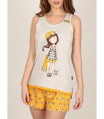 pyjama's / nachthemden admas pyjama shorts tank top beach belle santoro geel