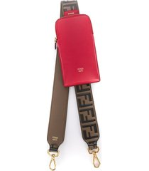 fendi phone pouch shoulder strap - brown