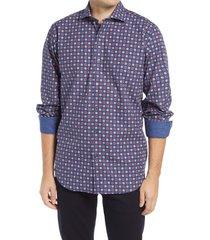 men's bugatchi classic fit dot print button-up shirt, size xx-large - blue