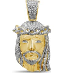 men's diamond (1-1/2 ct. t.w.) christ head pendant in 14k yellow gold over sterling silver