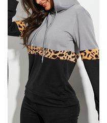 yoins jersey de leopardo con correa elástica gris de manga larga capucha