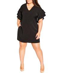 plus size women's city chic double frill a-line dress, size x-large - black