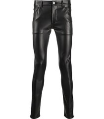 balmain skinny faux-leather trousers - black