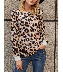 yoins brown leopard crew cuello camiseta de manga larga