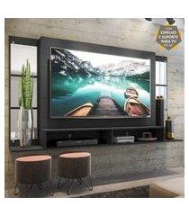 """painel tv 60"""" c/ suporte, espelho e nichos tókio multimóveis preto"""