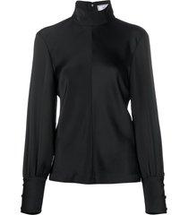 ami funnel neck blouse - black