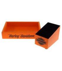 kit 2 peças organizadores mesa porta controle laranja decora