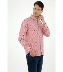 camisa de hombre, silueta classic con cuello francés, manga larga, preteñida a rayas con estampado de veleros