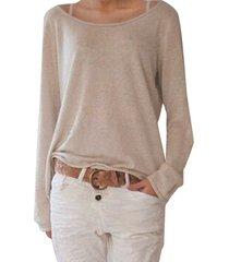camicetta donna girocollo manica lunga in misto cotone casual