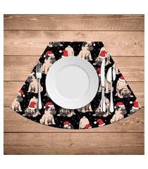 jogo americano para mesa redonda wevans pug natalino kit com 4 pçs