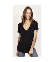 camiseta cora básico decote v modal feminina