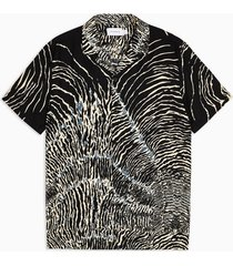 mens black zebra print revere shirt
