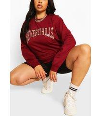plus beverly hills sweater met tekst, burgundy