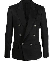 balmain black cotton-blend blazer