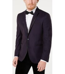 kenneth cole reaction men's slim-fit stretch dark purple geo dot evening jacket