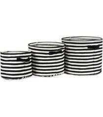 design imports polyethylene coated herringbone woven cotton laundry bin stripe round set of 3