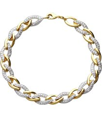bracciale placcato oro bicolore intrecciato con zirconi per donna