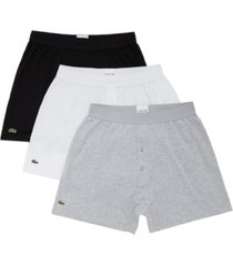 lacoste men's 3-pk. essential classic cotton knit boxers