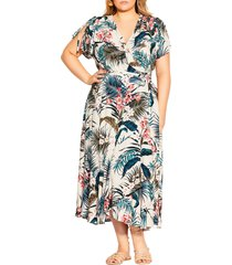 city chic maldives love wrap dress, size small in maldives paradise at nordstrom