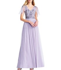 beaded long chiffon dress