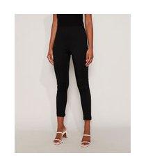 calça legging feminina cintura alta com recortes preta